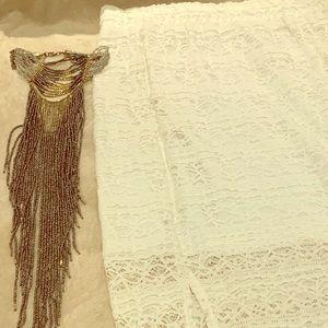 White Crochet Mini-Long Skirt